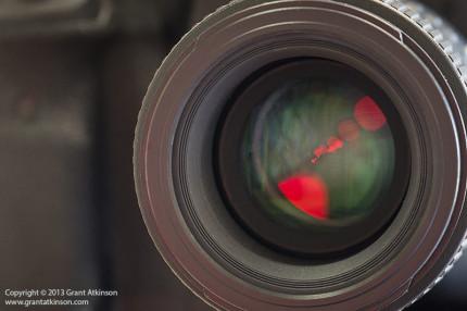 The front element is set back deep inside the lens barrel.