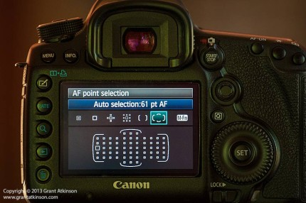 Canon 5Dmk3 with AF point grid showing on rear LCS