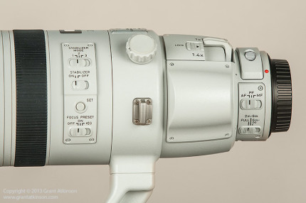 The back part of the Canon EF 200-400 f4L showing some of the features and controls