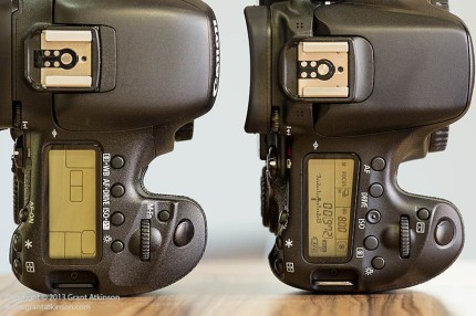 Canon EOS7D left, and 70D right. Top LCD screen and controls. Click for larger view