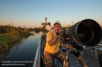 James Weis working with a long lens in the Okavango Delta.