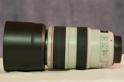 Retracted position Canon zoom lens