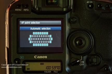 Canon 1Dmk4 autofocus point layout