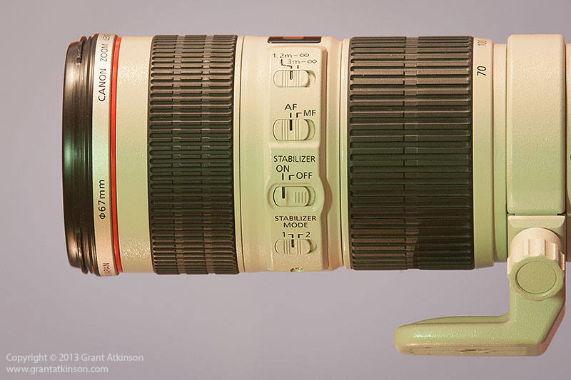 Side view of Canon EF 70-200 f4 L IS lens. Click to view larger