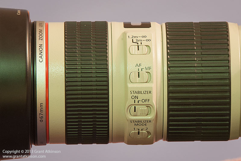 Canon EF 70-200 f4 L IS switch panel. Click for larger view