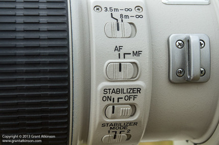 Switch panel detail for the Canon EF 400 f4 DO IS USM