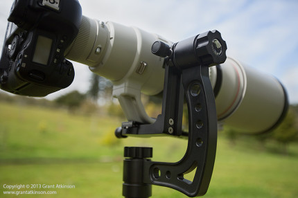 The Gimpro gimbal head, with Canon EF 500f4 and Canon 1D mounted.