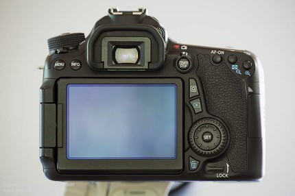 Rear view of the Eos 70D.  Click for larger view