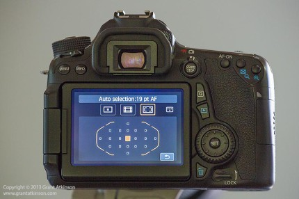 Canon EOS 70D showing the19 point AF grid that it shares with the EOS 7D.