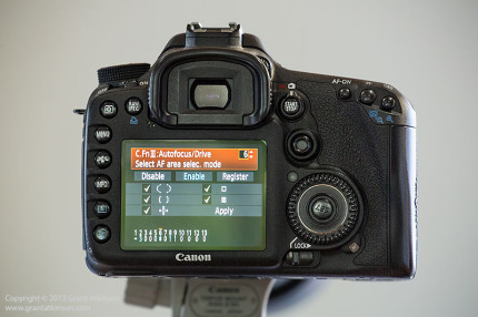 Canon EOS 7D showing five different AF point group selection options