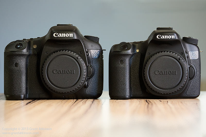 EOS 7D on the left, and EOS 70D on the right.