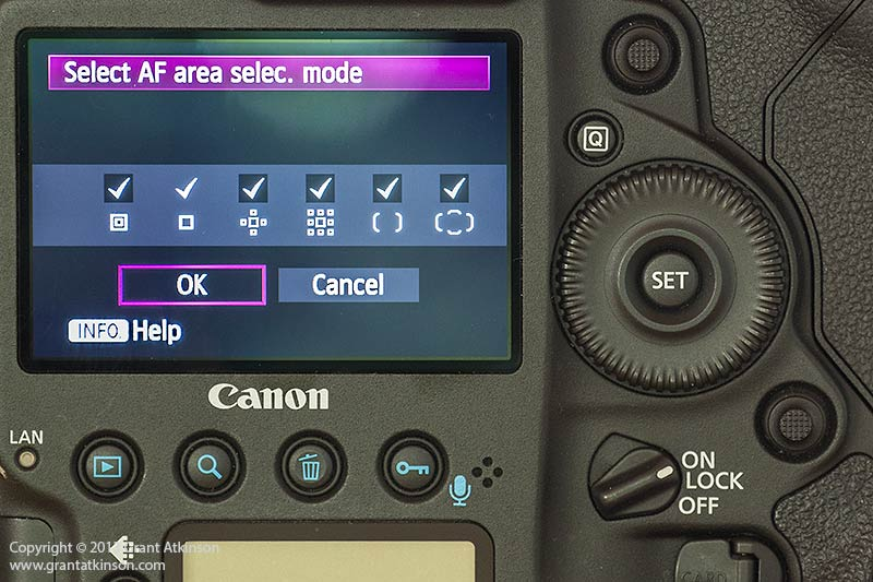 AF Area mode selection screen with all options enabled